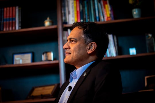 The University of Vermont's 27th president Suresh Garimella sits in the executive offices in the Waterman Building in Burlington, VT, July 1, 2019. He met with a group of media July 1.