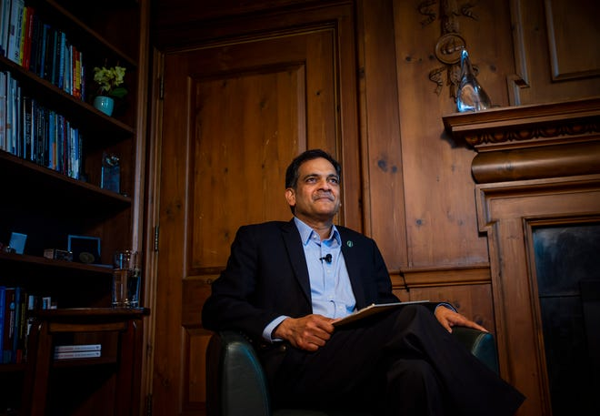 The University of Vermont's 27th president Suresh Garimella sits in the executive offices in the Waterman Building in Burlington, VT, July 1, 2019.