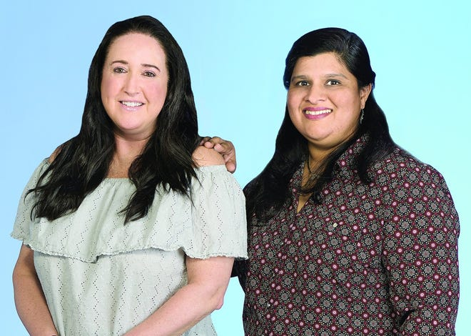 Pamela Belko skin cancer survivor (left) with her surgical oncologist, Nandini Kulkarni, MD.