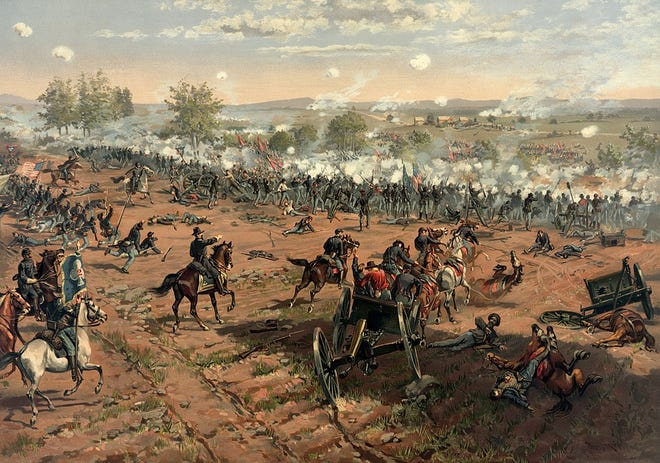 Painting of Pickett's Charge during the Battle of Gettyburg by Thure de Thulstrup.