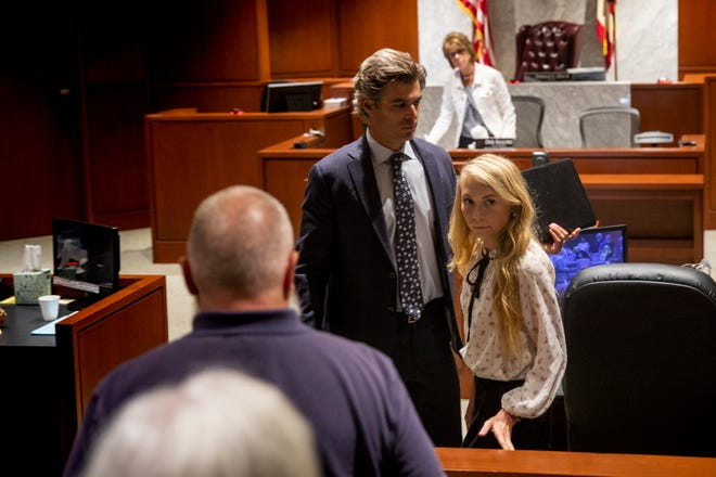 Skylar Richardson leaves her pretrial hearing Monday, July 1, 2019 at Warren County Common Pleas Court in Lebanon. Richardson's trial is set for September 3, 2019.