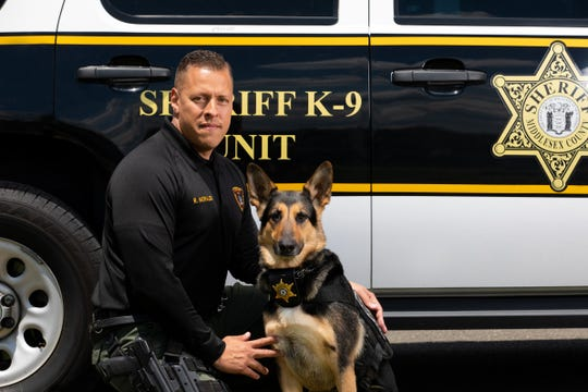 Middlesex County Sheriff Officer Rafael Morales and his K-9 partner Celeste who are now trained to track criminals and missing persons.