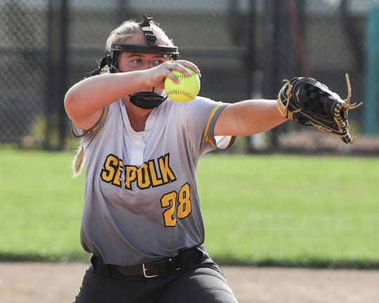 Southeast Polk's Sydney Matthaidess pitches during a June 27 game against Dowling Catholic at Southeast Polk High School.