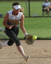 Southeast Polk's Abbi Cataldo fields a ground ball during a June 27 game against Dowling Catholic at Southeast Polk High School.