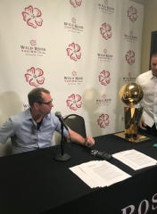 NBA Champion Coach Nick Nurse sits with the Larry O'Brien Championship Trophy at a press conference preceding a public celebration with his home community at Wild Rose Casino in Jefferson on June 30, 2019.