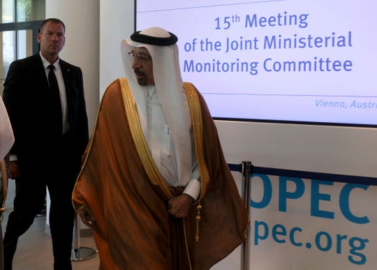 Khalid Al-Falih, Minister of Energy, Industry and Mineral Resources of Saudi Arabia arrives for a meeting of the Organization of the Petroleum Exporting Countries, OPEC, and non OPEC members at their headquarters in Vienna, Austria, Monday, July 1, 2019.
