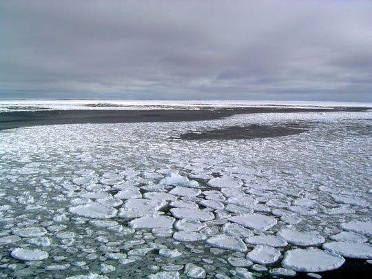Sea ice on the ocean surrounding Antarctica during an expedition to the Ross Sea in  January 2017.