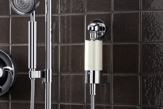 Some small shower filter units connect directly to an existing hand shower setup. (Kohler/TNS)
