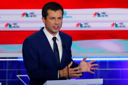 Democratic presidential candidate South Bend Mayor Pete Buttigieg speaks during the Democratic primary debate hosted by NBC News at the Adrienne Arsht Center for the Performing Arts, Thursday, June 27, 2019, in Miami.