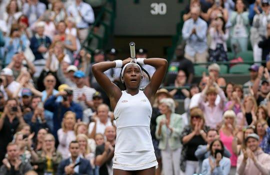 "Cori ""Coco"" Gauff reacts after beating Venus Williams."