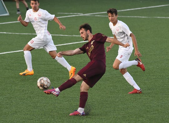 Detroit City FC Max Todd, here in a match against FC Indiana earlier in this season, scored three goals in Le Rouge's 6-0 rout over Toledo Villa on Sunday.