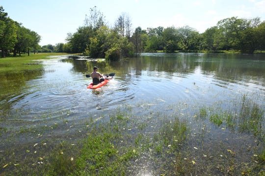 Brian Adam of Romulus paddles across what is normally a field near the banks of the Trenton Channel in Elizabeth Park in Trenton, Michigan on July 1, 2019.