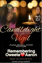 Digital flyer for the candlelight vigil for Oweeta Wilkins and her 10-year-old son Aaron.