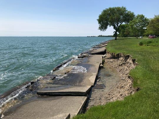 High water and erosion have collapsed the break wall on the shore of Lake St. Clair along Lake Shore Drive in Grosse Pointe Shores. June 2, 2019.