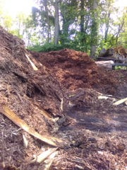 Mountains of mulch are found near pieces of equipment that process the lumber at Bontrager's Sawmill near Centreville, MI.
