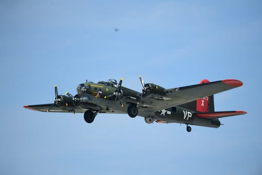 "A B-17 ""Flying Fortress"" bomber from WWII now owned by the Texas Raiders made and appearance at this year's Fort Wayne Air Show."