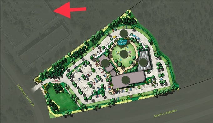 An artist's rendering of Fort Myers Brewing Co.'s planned expansion in Gateway. The red arrow shows the brewery's current front door.