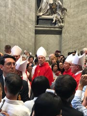 Archbishop Michael Jude Byrnes, center, during the June 29 pallium Mass in Rome.