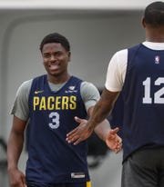 Aaron Holiday (3) competes in a practice game during Indiana Pacers rookie/free agent camp at the St. Vincent Center in Indianapolis, Monday, July 1, 2019.