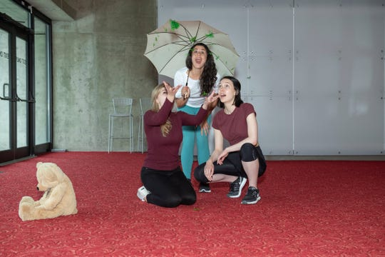 From left, Natalie Myrick (Lily Wuluman), Megan Tomei (Rosey) and Gretchen Vosburgh (Miss Beatrice) star in 'Lily Plants a Garden.'