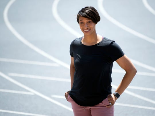University of Tennessee track star Kameisha Bennett is being inducted into the Knoxville Sports Hall of Fame. She is pictured at Tom Black Track on Monday, July 1, 2019.