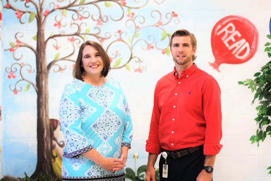 """""""I'm so passionate and excited about this new role and I want our school to shine and be represented as the great school, with involved parents,"""" said Principal Jamey Romig. Pictured at Halls Elementary School on June 28 with new assistant principal, Nathan Lynn."""