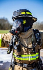 Former Vols, Herman Lathers participates in hazmat training while at the Fire Training Academy in Knoxville.