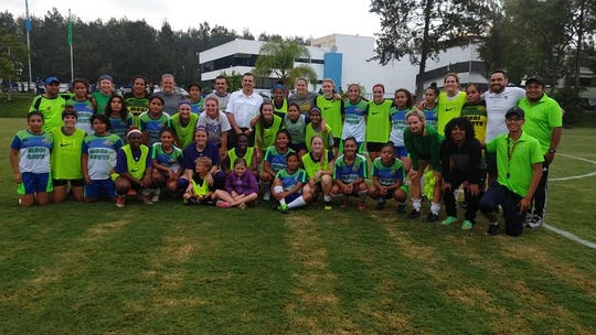 Members of the NSU soccer team pose with a Guatemalan team and members of the Baylor University team during the Lady Demons' trip to Guatemala City, Guatemala, in mid-May.