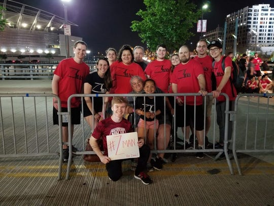 "St. Johns resident and Olivet College student Zane Paksi with friends and family in Cincinnati in May during the filming for his ""American Ninja Warrior"" audition. The qualifying rounds for the NBC show will air Monday, July 8."