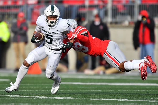 Former Michigan State wide receiver Hunter Rison, shown here in 2017, recently announced he'd be transferring to Fullerton College. Rison departed MSU for Kansas State after the 2017 season.