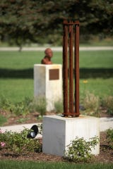 Pictured: Gerhard Hahn, Flow, 1997 with Gregory Kline, Blindfolded, 2000 in the background on the Kohler grounds.