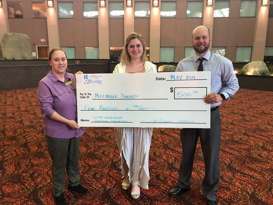 Big Brothers Big Sisters of Manitowoc County scholarship winner: BBBS Program Director Becky Wilhelm (from left), scholarship winner Michelle Dolphin and BBBS Executive Director Joel Evenson.