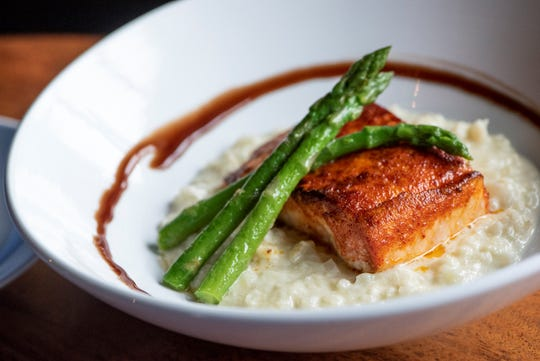 Simple yet sublime: the Caramelized Salmon with Cauliflower Risotto and Balsamic Reduction at River Oaks in East Memphis.