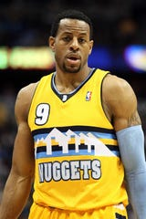 Andre Iguodala, shown in a 2013 game, when he was with the Denver Nuggets.