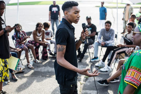 Keshaun Childs, 19, talks during a healing circle event in Frayser organized by the Black Lives Matter Memphis chapter for Brandon Webber, June 30, 2019. Webber, 20, was shot and killed by U.S. marshals on June 12 in Frayser in his mother's driveway on Durham Avenue.