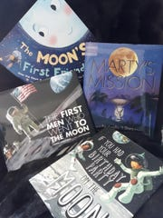 Selected books about the moon for young readers.