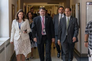 Left to right: Victoria Brahm, director of the Tomah VA Medical Center; Robert Wilkie, U.S. secretary of Veterans Affairs, and Daniel Zomchek, director of Milwaukee Veterans Affairs, meet in Milwaukee.