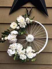 Bicycle rim wreath.