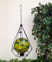 Geometric gazing ball holder.