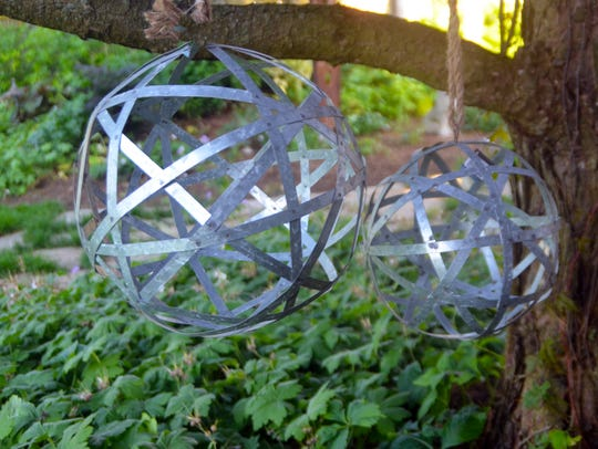 Decorative metal orbs.