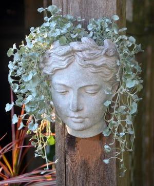 An Athena head planter is from Johnson's Gardens. The Cedarburg garden center holds workshops through the summer.