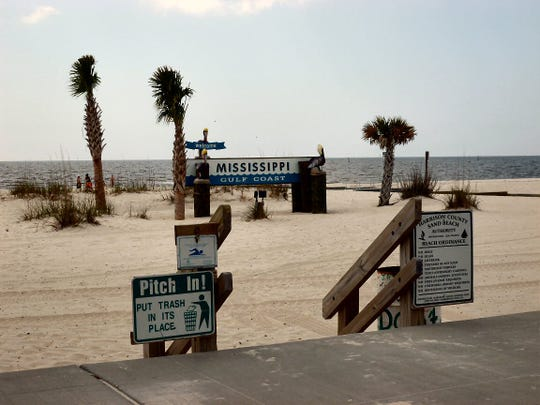 Gulfport East Beach in Mississippi is among those closed on the state's Gulf Coast.