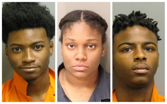 Jacoby Scott, Jasmine Hamilton and Fernando James were each charged with two counts of first-degree robbery.