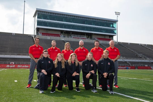 Ball State's football trainers assemble. Neal Hazen earned recognition as the NCAA Division I Head Athletic Trainer of the Year.