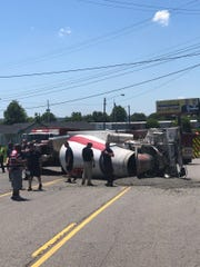 A two-vehicle crash involving a cement truck has most of Lebanon Pike shut down.
