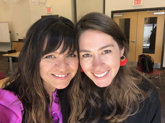 Juliana Ospina Cano, right, will take over as executive director of Conexion Americas community center July 8, succeeding Renata Soto, left, who co-founded the community center 17 years ago. The two are pictured here together in May 2019 at Casa Azafran off Nolensville Pike, the non profit collaborative that houses Conexion Americas