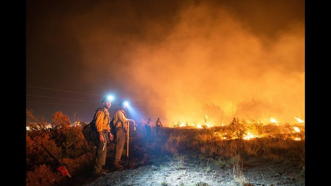 The Pine Lodge Fire grew to more than 14,000 acres as fire crews worked to contain the blaze, July 1, 2019 in Lincoln National Forest.