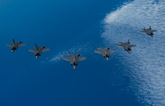 U.S. Air Force F-35A Lightning IIs, center, lead a formation of Israeli Air Force F-35I Lightning IIs, right, and Royal Air Force F-35B Lightnings, left, during Exercise Tri-Lightning over an undisclosed location over the Mediterranean Sea, June 25, 2019. Tri-Lightning is a defensive counterair exercise over the Eastern Mediterranean involving the U.S. U.K., and Israel. The exercise is designed to improve interoperability and coordination in air operations among the U.S. and it's allies.