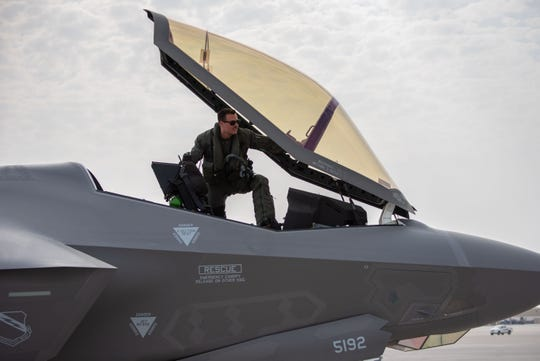 A U.S. Air Force pilot from the 4th Expeditionary Fighter Squadron enters the cockpit of a F-35A Lightning II before Exercise Tri-Lightning June 25, 2019, at Al Dhafra Air Base, United Arab Emirates. This exercise is intended to enhance capability and interoperability among the U.S. Air Force, Royal Air Force and Israeli Air Force. This is the first exercise where the three nations conducted aviation training with the same airframe at the same time.