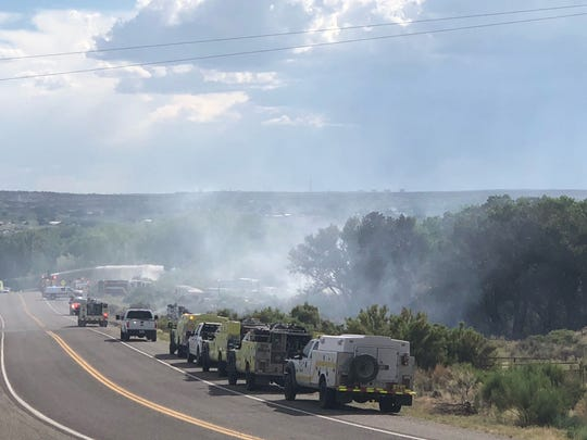 San Juan County firefighters and area first responders were dispatched to a fire southwest of U.S. Highway 64 and County Road 4800 east of Bloomfield. Traffic is blocked on County Road 4800 as crews battle the blazes.